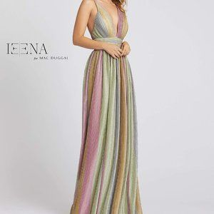 IEENA for Mac Duggal Plunging Pleated Dress
